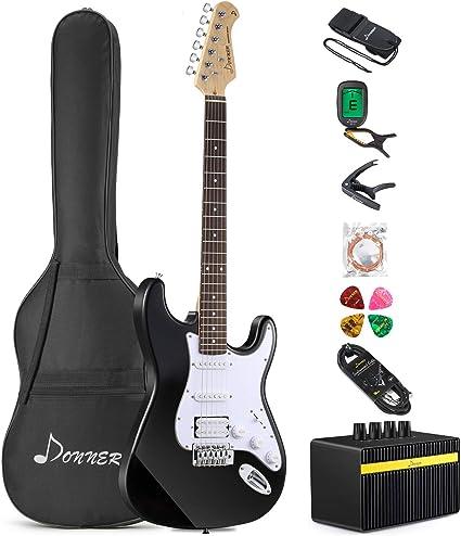 Donner DST-1B - Set de guitarra eléctrica (39 pulgadas, con ...