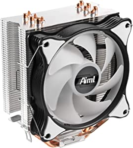 Aiml,120mm Air CPU Cooler, 6 Continuous Direct Contact Heat Pipes, PC Fan with PWM Function, Intel LGA1151, AMD AM4 / Ryzen (Single Fan)