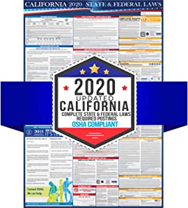 "2020 California State and Federal Labor Laws Poster - OSHA Workplace Compliant 24"" x 36"" - All in One Required Posting - Laminated"
