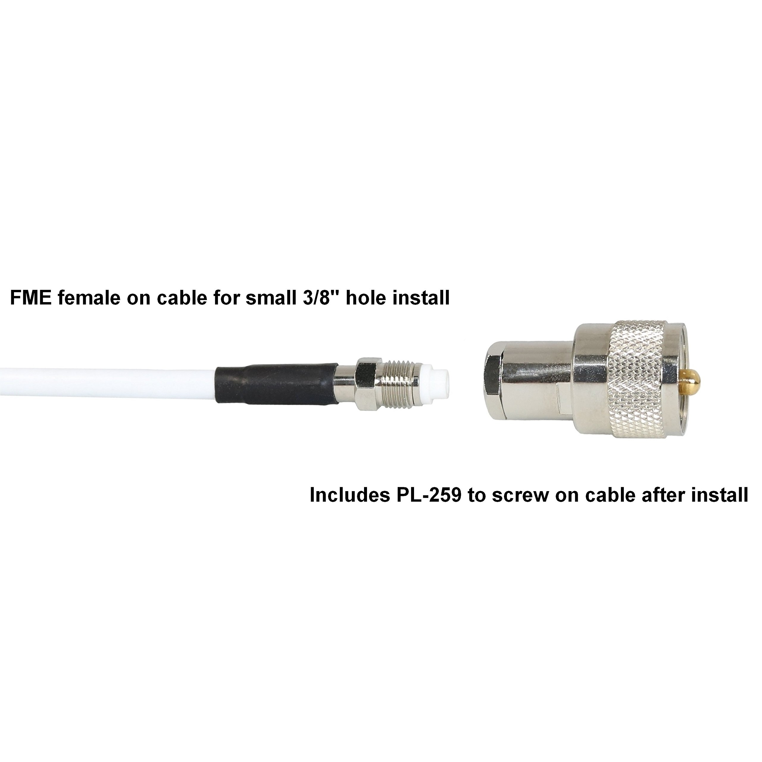 TRAM(R) 1614 46'' VHF 3 Dbd Gain Marine Antenna with Cable Built-in to Ratchet Mount, Silver by TRAM(R) (Image #2)