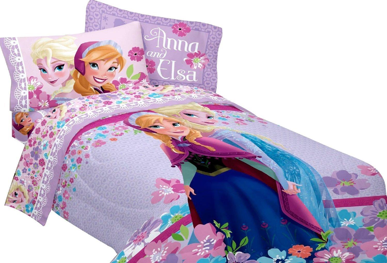 Disney Frozen Princess Anna & Elsa Twin Single Comforter & Sheet Set, K (4 Piece Bed In A Bag)