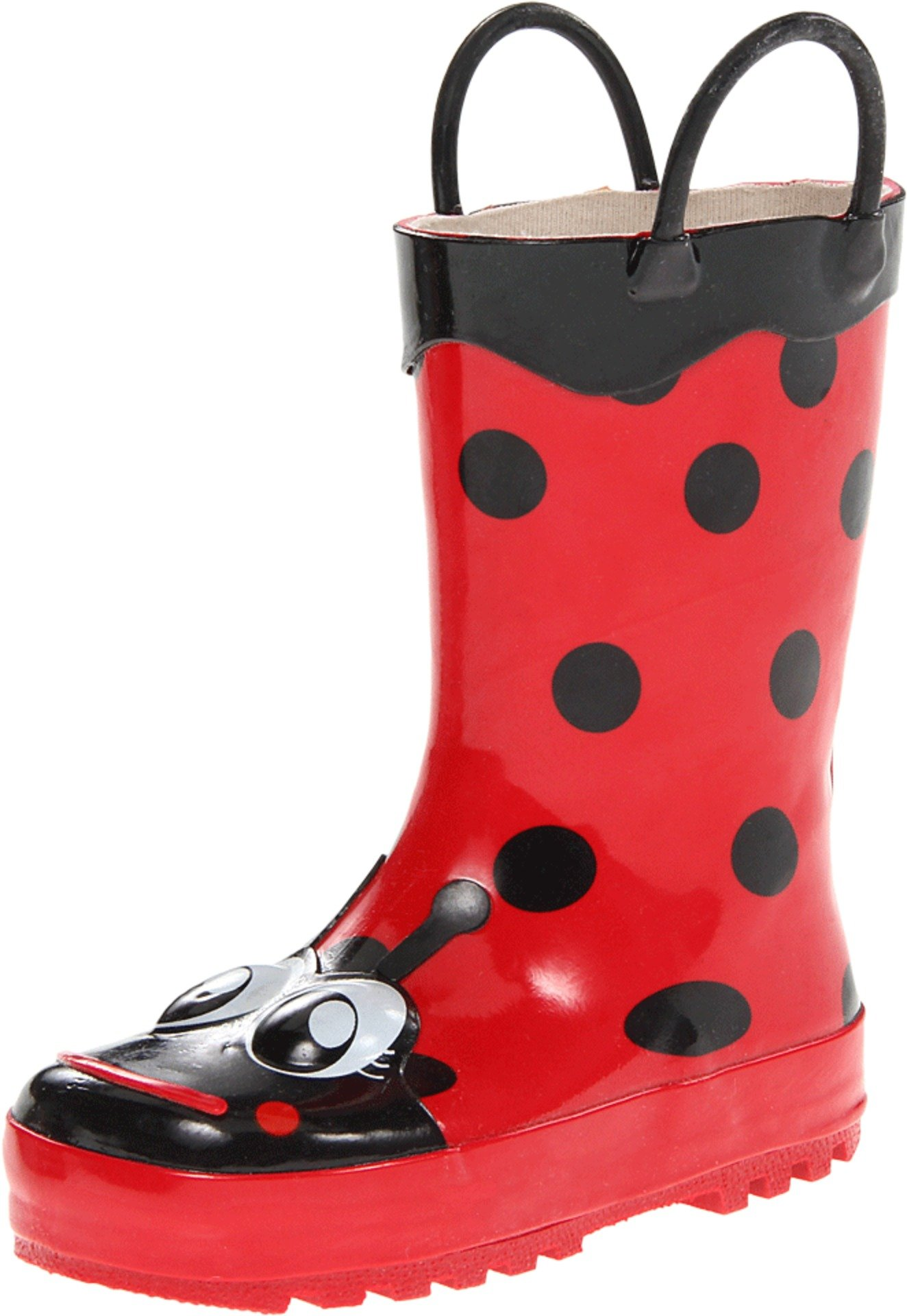 Western Chief Girls Waterproof Printed Rain Boot with Easy Pull on Handles, Lucy the Ladybug, 11 M US Little Kid