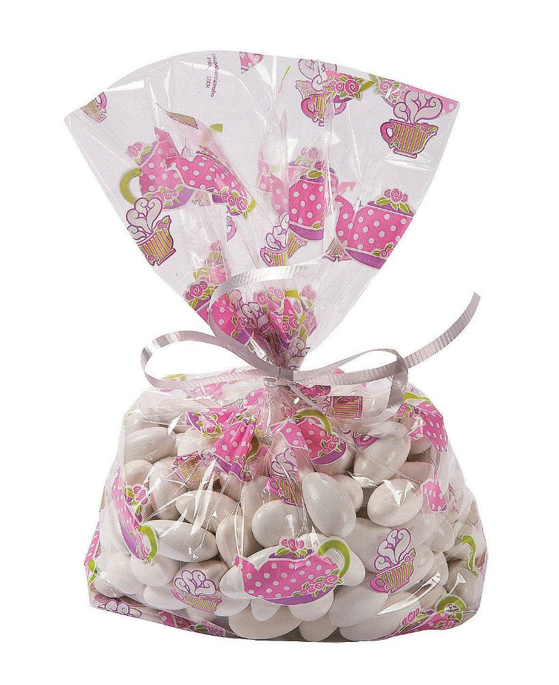 24 Everyday Party Favor TEA PARTY Teacup Cello Goody Loot TREAT BAGS