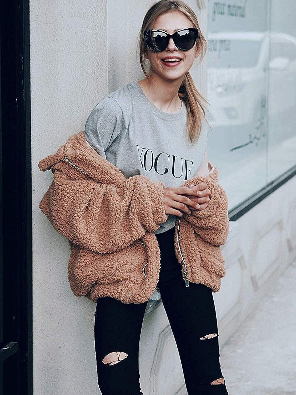 MODEOK New Womens Warm Fluffy Fashion Long Sleeve Faux Zip Fastening Winter Oversized Coat Jacket