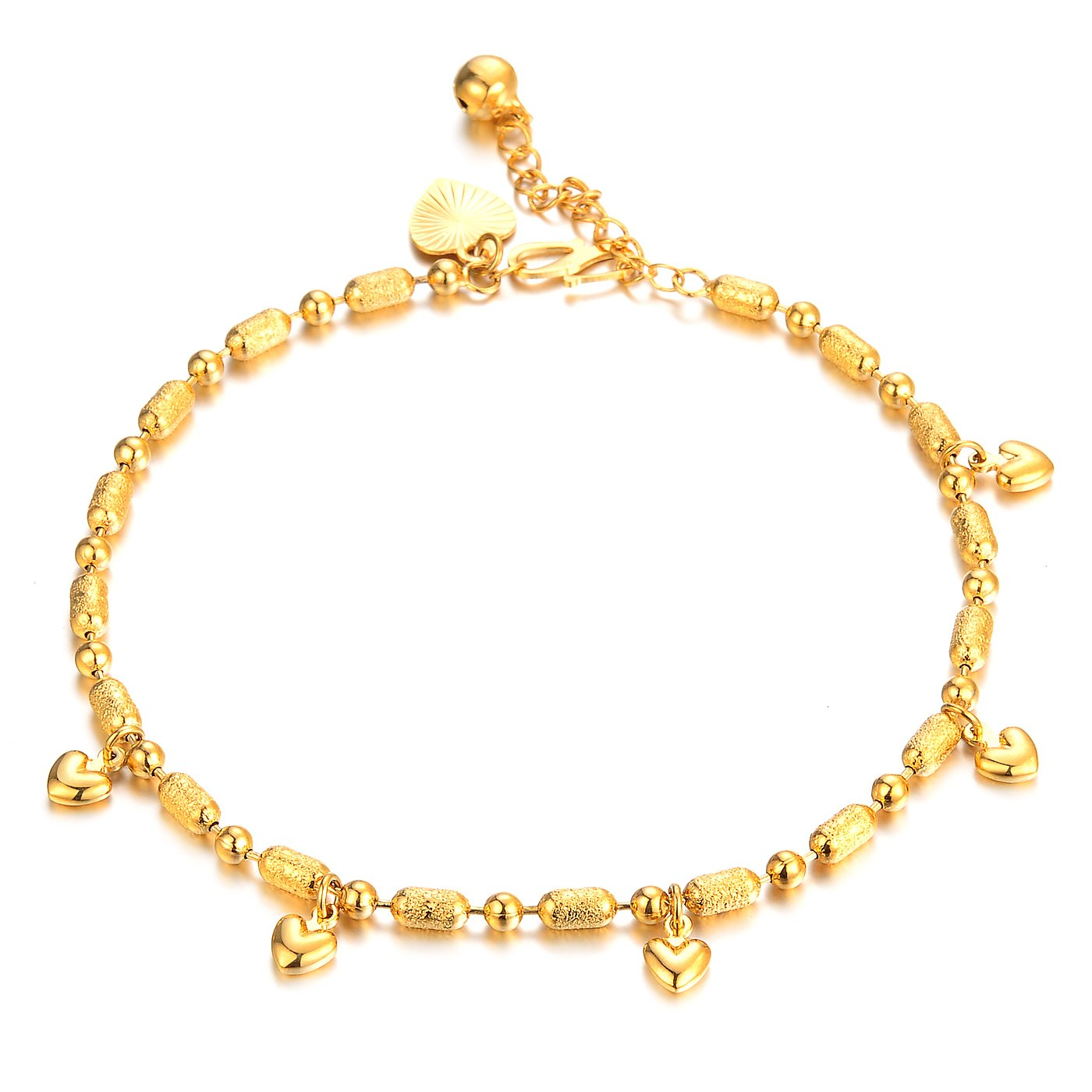 Women's Anklet Bracelet 18k Gold Plated Small Pure and Fresh and Contracted Pendants Foot Chain