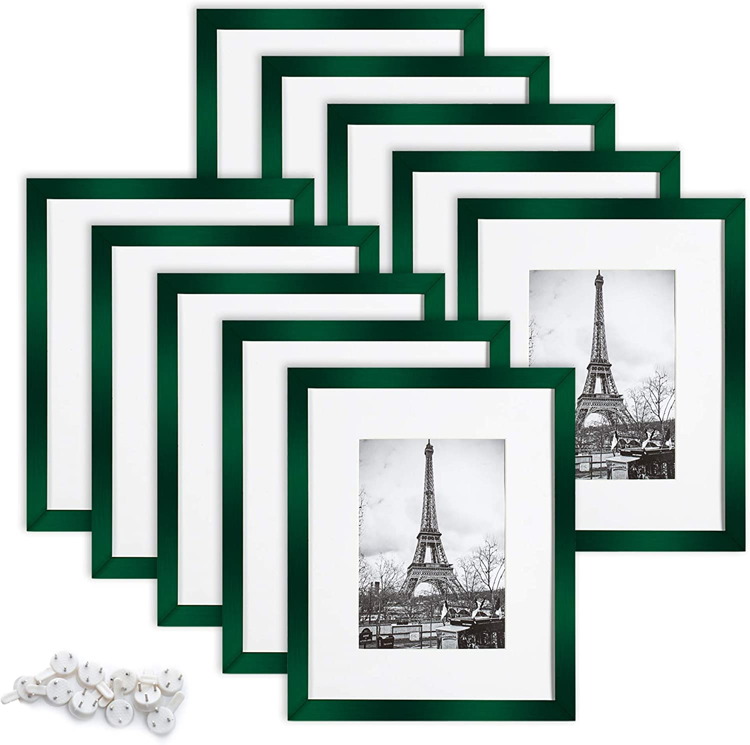 upsimples 8x10 Picture Frame Set of 10,Display Pictures 5x7 with Mat or 8x10 Without Mat,Multi Photo Frames Collage for Wall or Tabletop Display,Peacock Green
