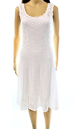 Polo Ralph Lauren Womens Pointelle Crochet Casual Dress White L