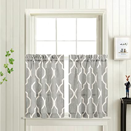 Grey Moroccan Tile Print Tier Curtains For Kitchen Lattice CafCurtains 24 Inches Long Short