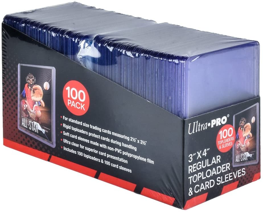 100 Ultra Pro 3x4 REGULAR TOPLOADERS NEW Standard Size Trading Card Sleeve Rigid