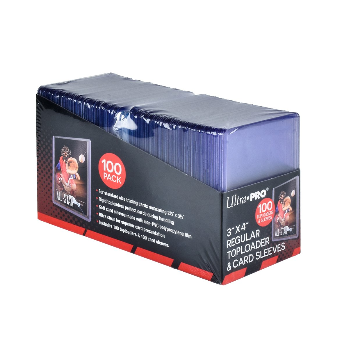 Ultra Pro 3'' x 4'' Toploaders and Clear Sleeves for Collectible Trading Cards (includes 100 toploaders and 100 sleeves)