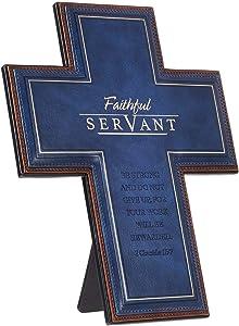Christian Art Gifts Decorative Wall Cross, Faithful Servant, Blue LuxLeather