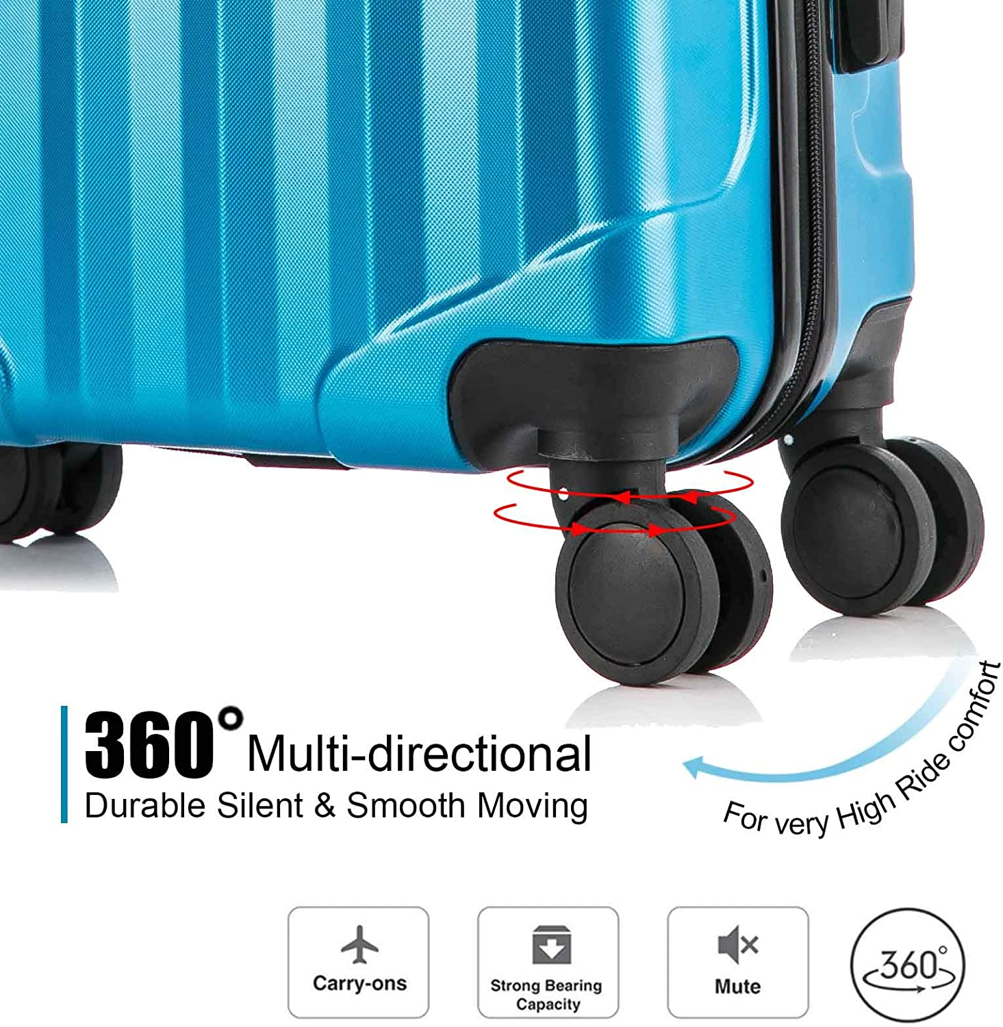 Vertical Stripes 4PC Luggage Sets 16 20 24 28Inch ABS Hardshell Luggage Set Lightweight Hard Shell Travel Suitcases w//Spinner Wheels Free Suitcase Cover - Champagne