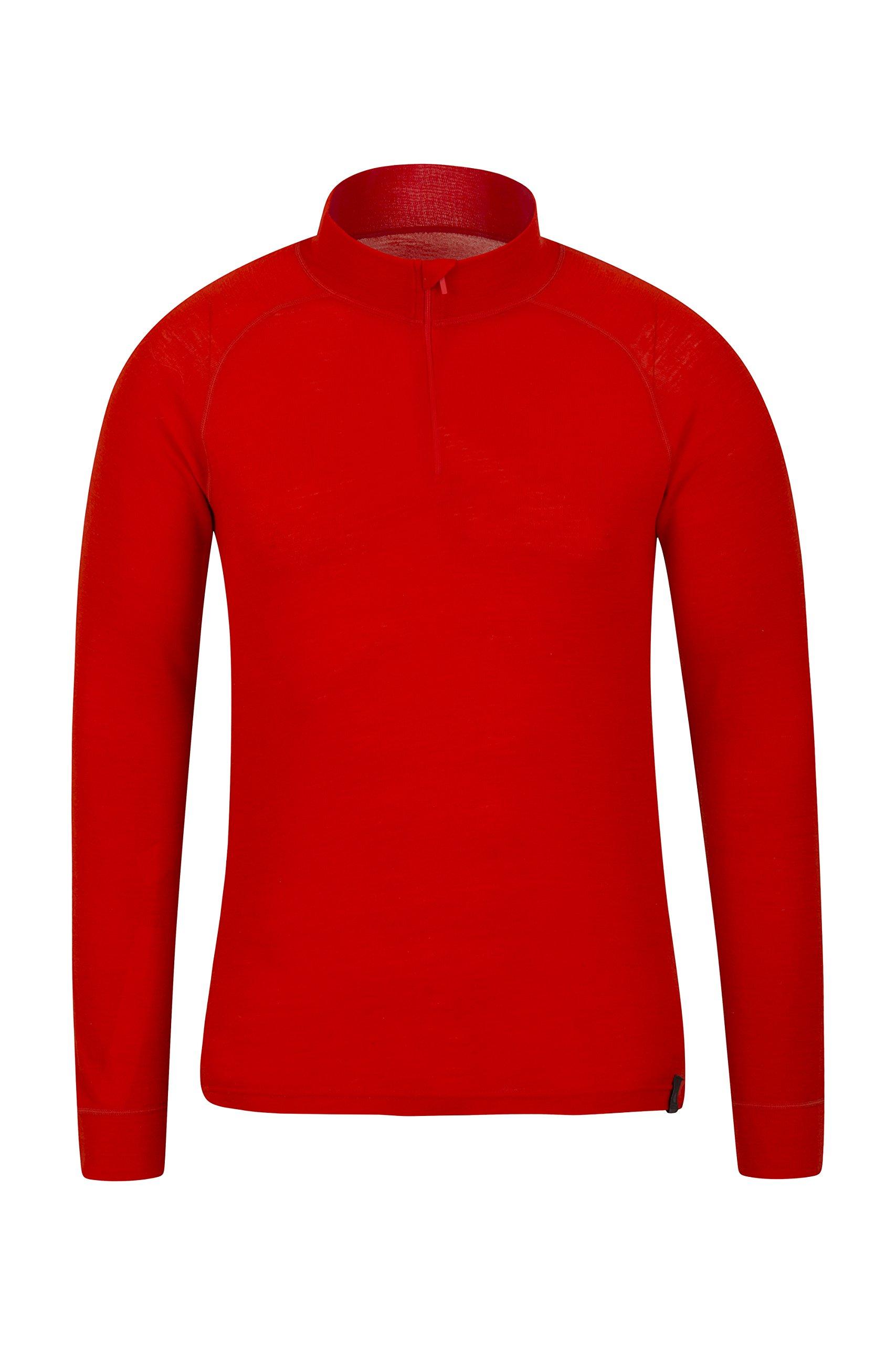 Mountain Warehouse Merino Mens Top - Breathable Tshirt, Half Zip Tee Orange Large by Mountain Warehouse