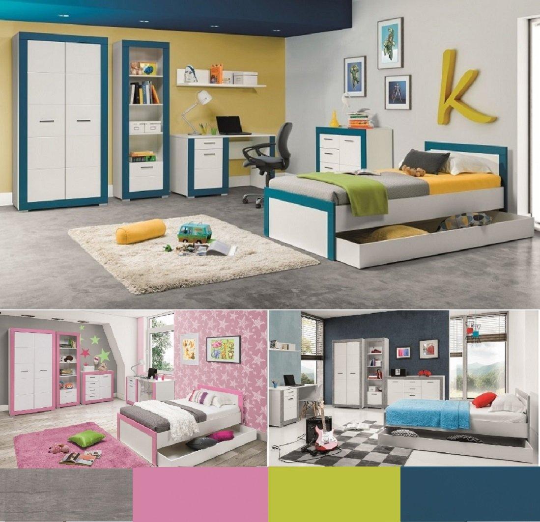 Jugendzimmer Kinderzimmer Komplett 4TEEN Set B Weiß U0026 Türkis,rosa,grau,grün,  Farbauswahl Schrank Standregal Kommode Schreibtisch Bett 200x90 Wandregal:  ...