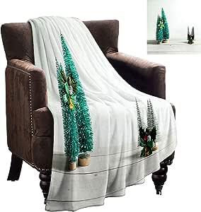 LanQiao - Manta de felpa, diseño de árbol de Navidad, 228,6 x 177,8 cm