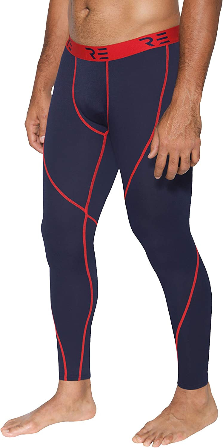 Real Essentials 4 Pack Mens Compression Pants Base Layer Cool Dry Tights Active Sports Leggings