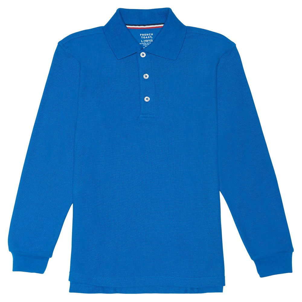 French Toast Boys' Big Long-Sleeve Pique Polo, Royal, M (8) by French Toast (Image #1)