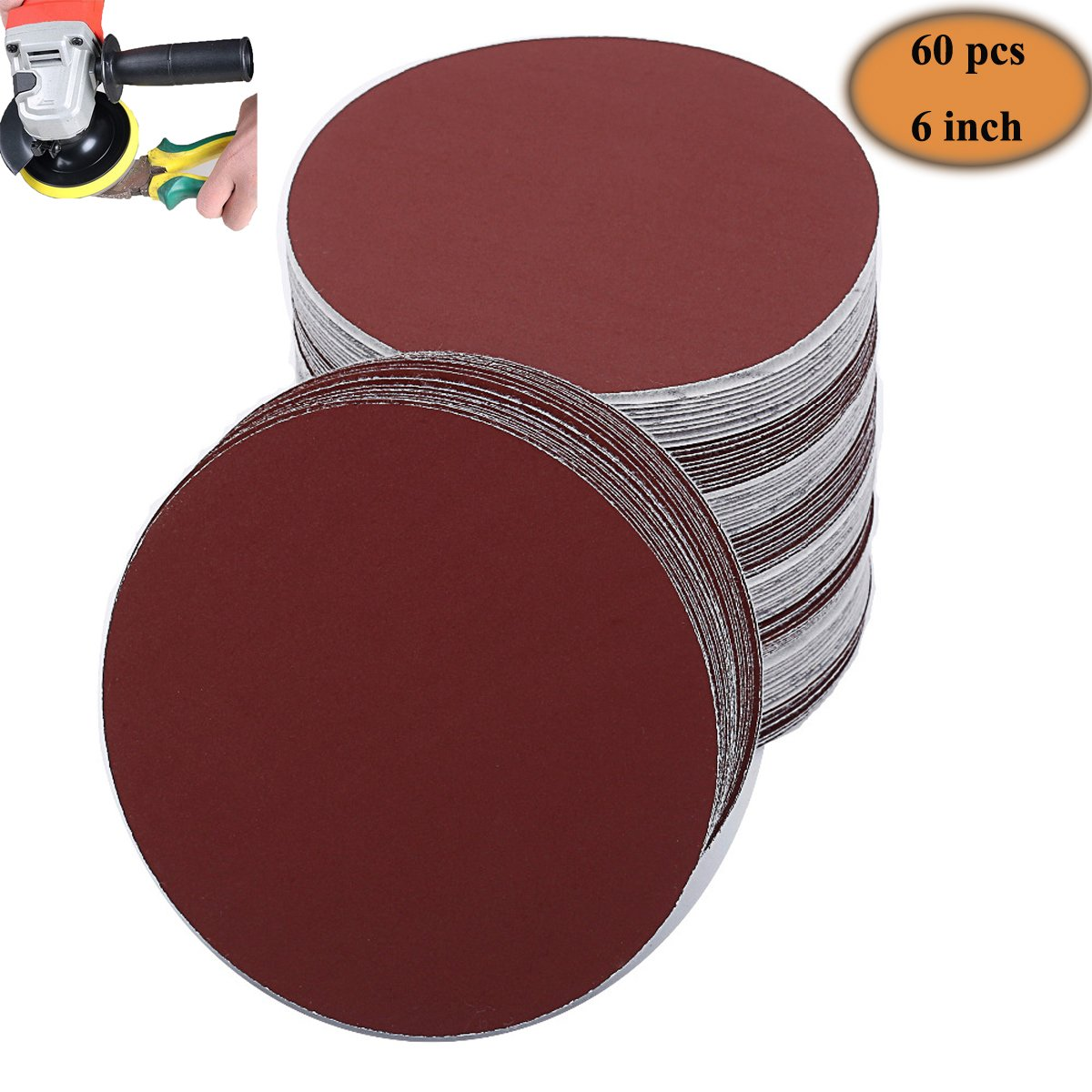 Home Swaver 60x 6'' PSA Aluminum Oxide Sanding Disc Self Adhesive 80/100/120/180/240/400 Grit Sandpaper 10 PCS for Each