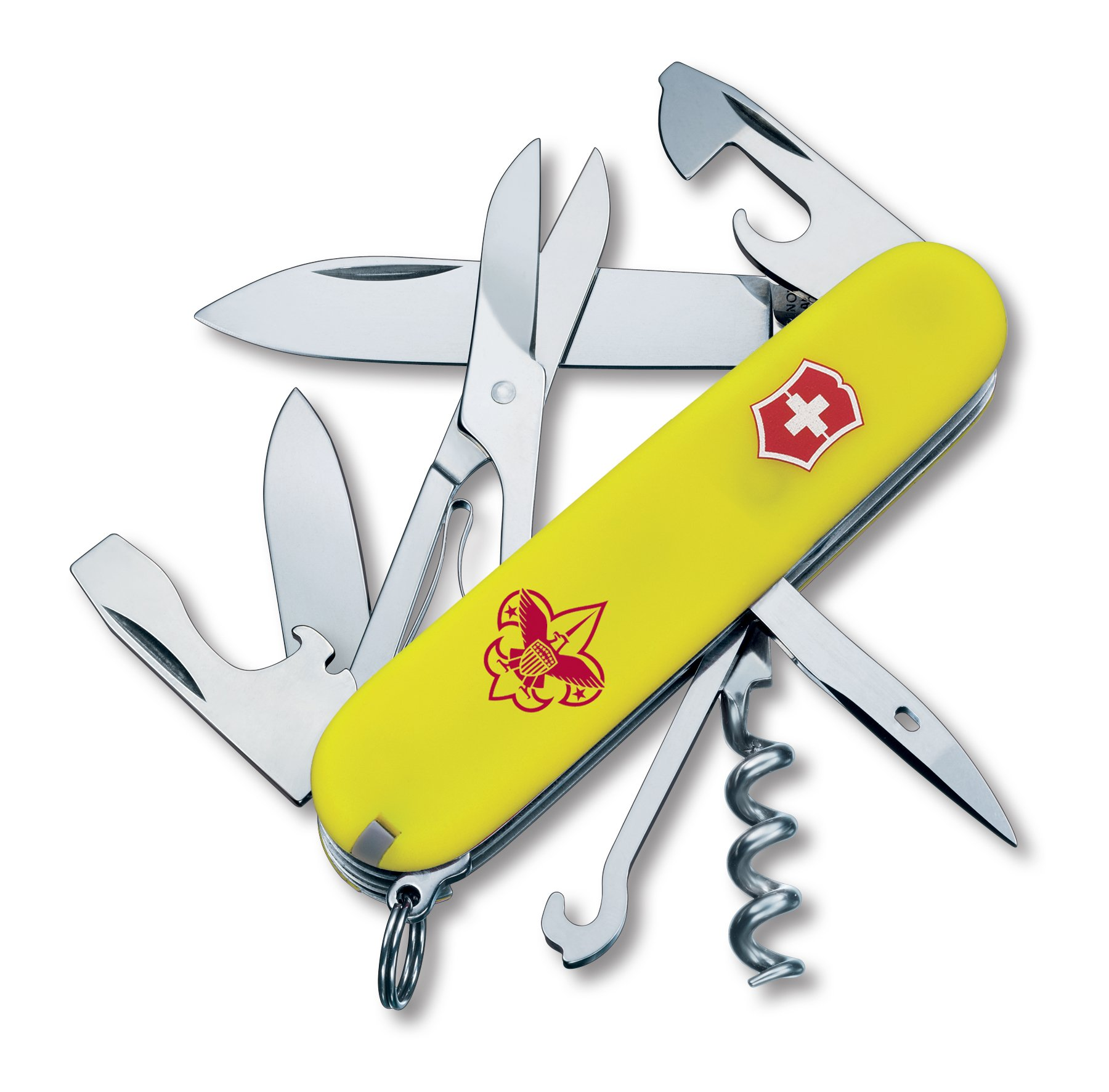 Victorinox Swiss Army 54389 Climber Boy Scout Knife, 91mm, Stayglow Yellow