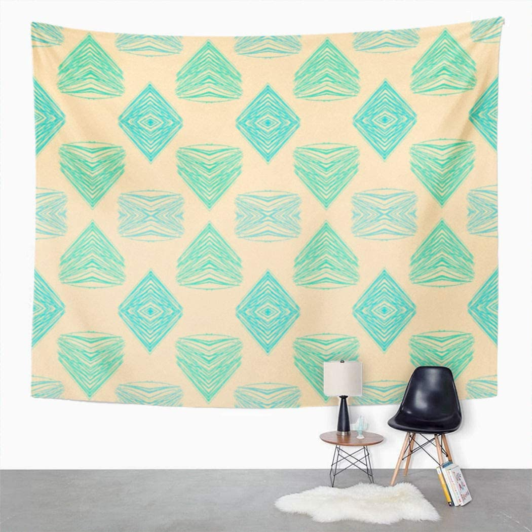 Suklly Tapestry Wall Hanging 1930S Geometric Pattern in Pink Green Colors Vintage Home Decor Polyester Living Bedroom Dorm 50 X 60 Inches Picnic Mat Beach Towel Bed Cover