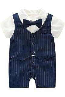 0c2e3f79978b7 (AFROMARKET) ロンパース ベビー 男の子 半袖 かわいい フォーマル 夏用 服 おしゃれ 赤ちゃん 記念日