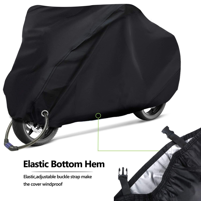 240cm*125cm*105cm RATEL Funda para Moto Cubierta de la Motocicleta Impermeable y Resistente al Viento Antipolvo y antirrobo con una Bolsa de Almacenamiento Funda de Moto de Tela Oxford 210D