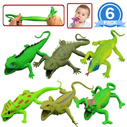 Lizards Toys,9-inch Rubber Lizard Set(6 PACKS),Food Grade Material TPR  Super Stretchy,With Learning Study Card Gift Bag-Realistic Lizard Figure