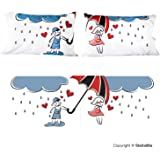 """Couple's Pillowcase Set - """"Raining Love"""" - Romantic Valentine's Day Gift Idea for Couples, Anniversary, Wedding, Engagement, for Him and Her in Love, 20x30"""""""