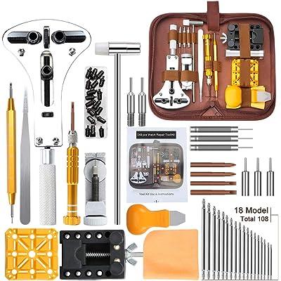 Kit de Reparación de Relojes,E·Durable Herramientas de Reloj, con Abridor de Repara Pulsera de Reloj 52mm Ajustar Correa, Cambiar Pilas