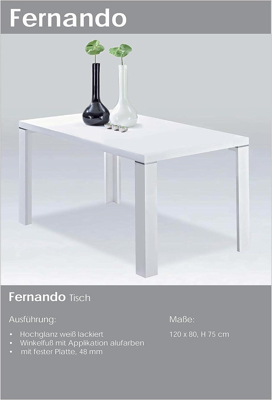 CAVADORE Mesa, Madera, Blanco Brillante, 80 x 120 x 75 cm