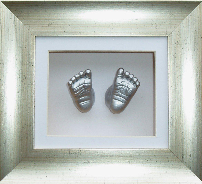 Anika-Baby Kit de moulage pour bébé Cadre boîte 3D Effet argenté ancien Passe-partout blanc-peinture argenté métallique