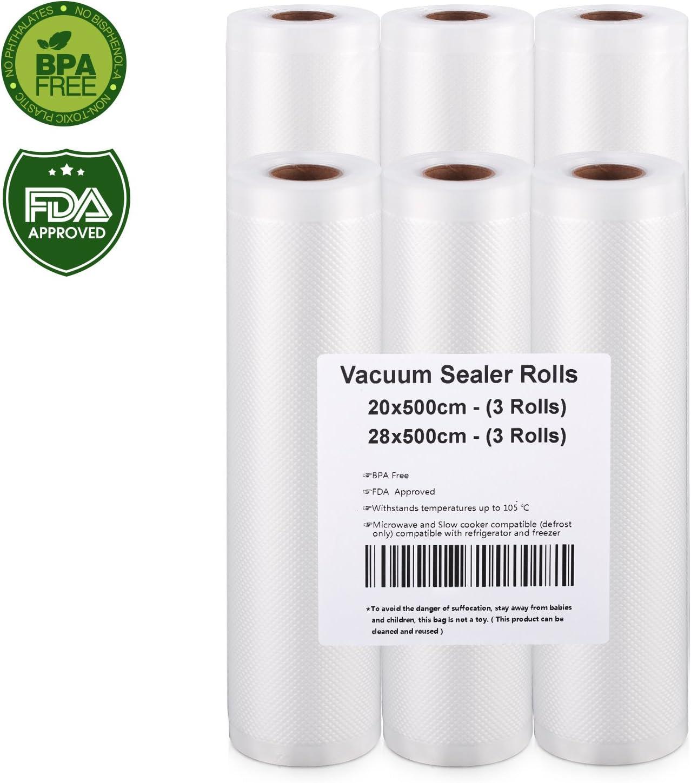 Rollo Envasado Vacío, 6 Rollos Bolsas de vacío 20x500 y 28x500cm de Grado Comercial para el Ahorrador de Alimentos y Sous Vide Cocina, Aprobación de la FDA y BPA Free