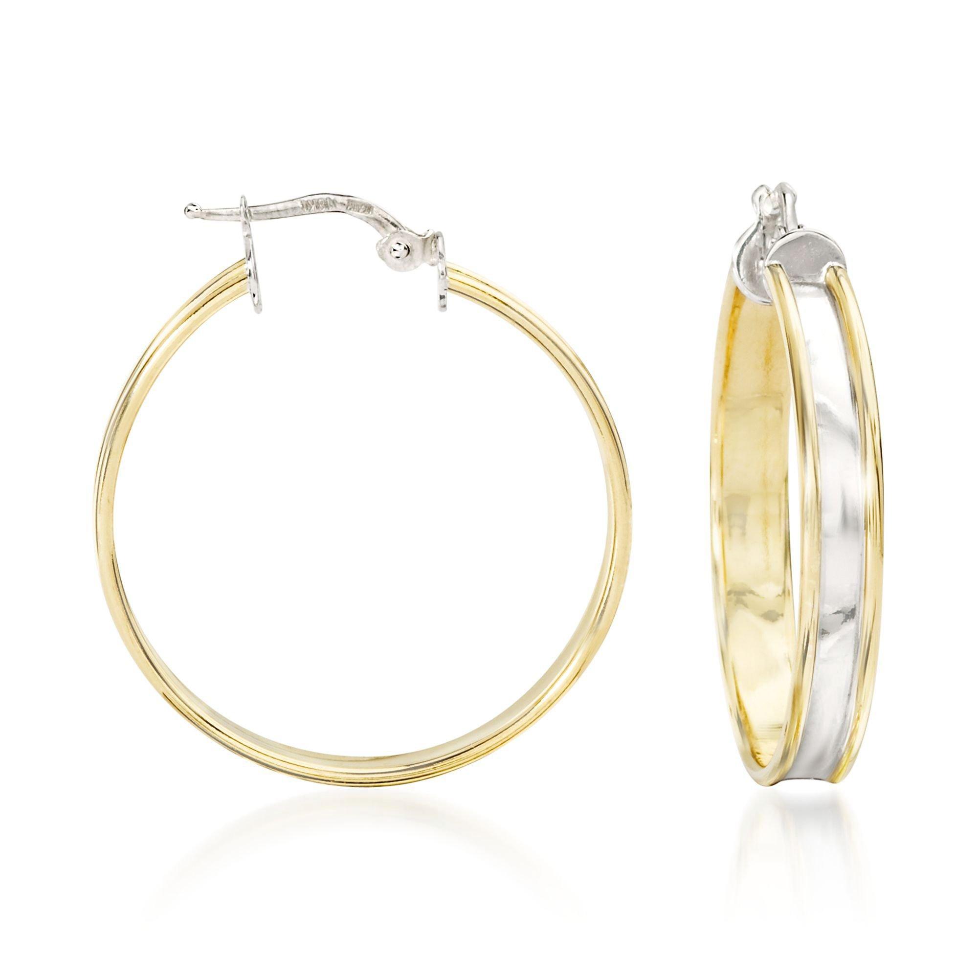 Ross-Simons Italian 18kt Yellow Gold and Sterling Silver Hoop Earrings