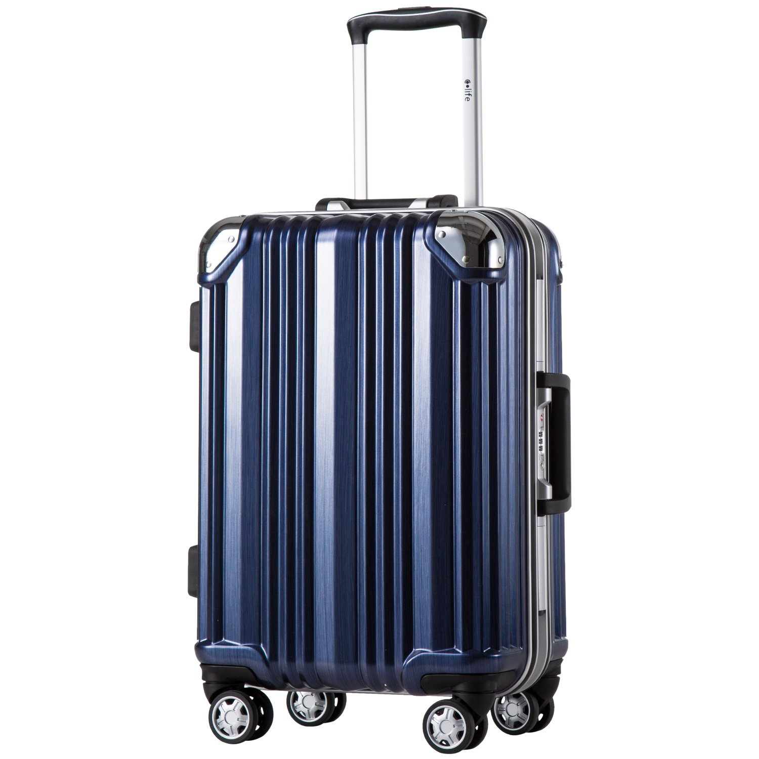 Coolife Luggage Aluminium Frame Suitcase with TSA Lock 100% PC (M(24in), Blue)