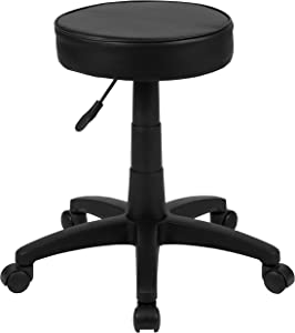 Flash Furniture Black Adjustable Doctors Stool on Wheels with Ergonomic Molded Seat