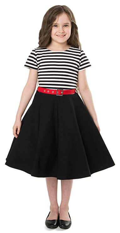 Kids 1950s Clothing & Costumes: Girls, Boys, Toddlers BlackButterfly Kids Maria Vintage Striped Pin Up Dress $33.99 AT vintagedancer.com