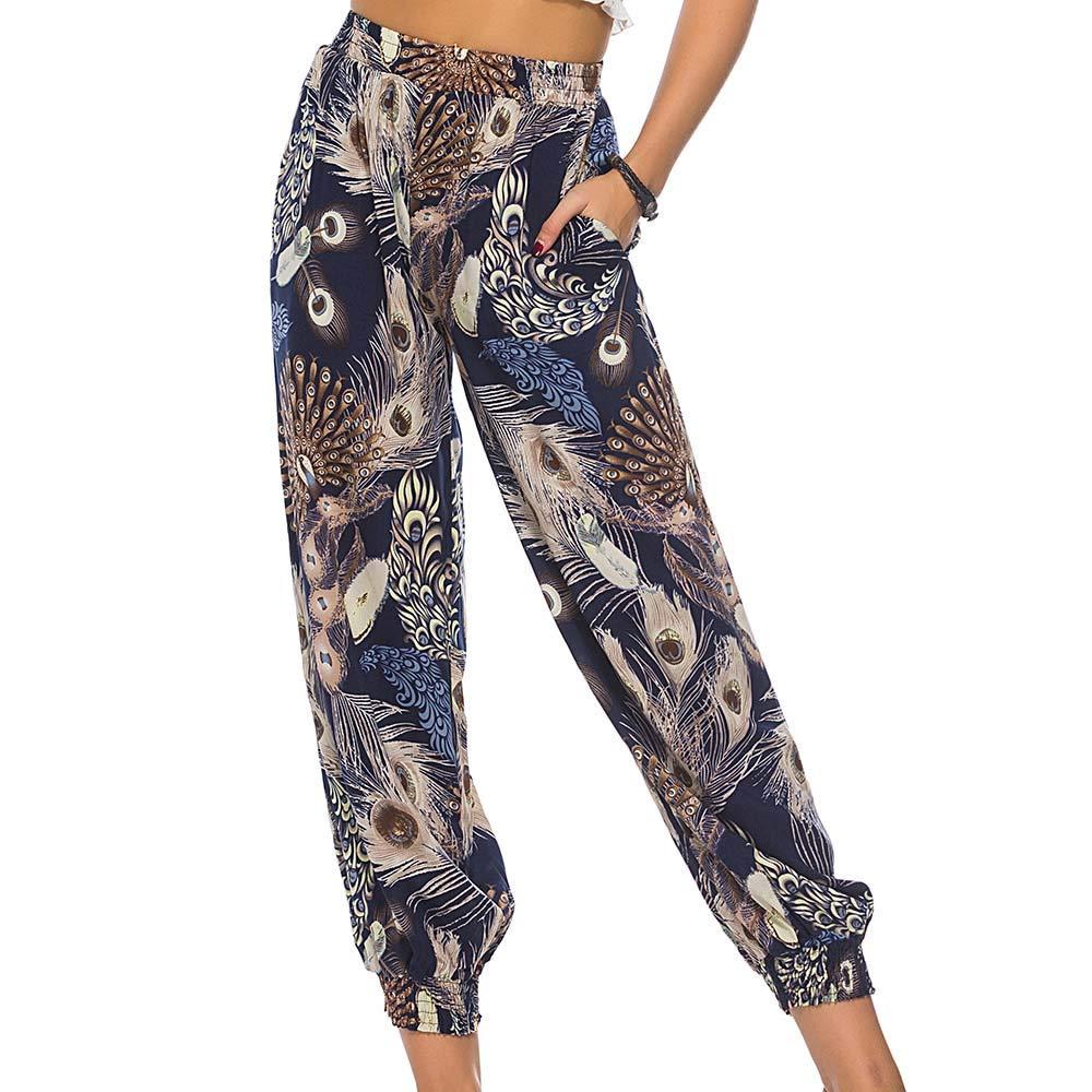 Femme Bloomers Yoga Pantalon Sarouel Mode Imprimé Capris Baggy Harem Running Sport Casual Pants