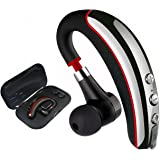 [Upgrade Version] Bluetooth Headset, Wireless Earpiece V4.1 with Mute Switch, Hands Free Lightweight Noise Reduction Headset with Mic for Cell Phone-Headset+Case