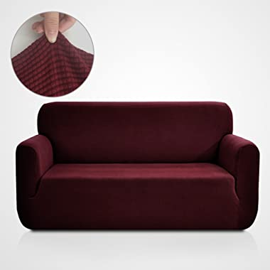 Rose Home Fashion RHF Jacquard-Stretch Sofa Cover, Slipcover for Leather Couch-Polyester Spandex Sofa Slipcover&Couch Cover for Dogs, 1-Piece Sofa Protector(Sofa: Burgundy)