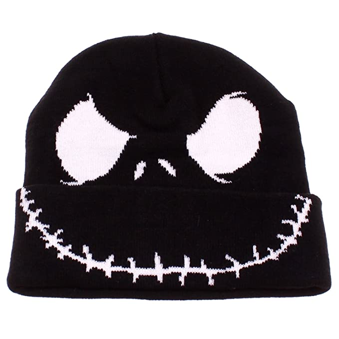4c9da36725e Nightmare Before Christmas Jack Skellington Face Black Cuffed Knit Beanie  Hat  Amazon.co.uk  Clothing