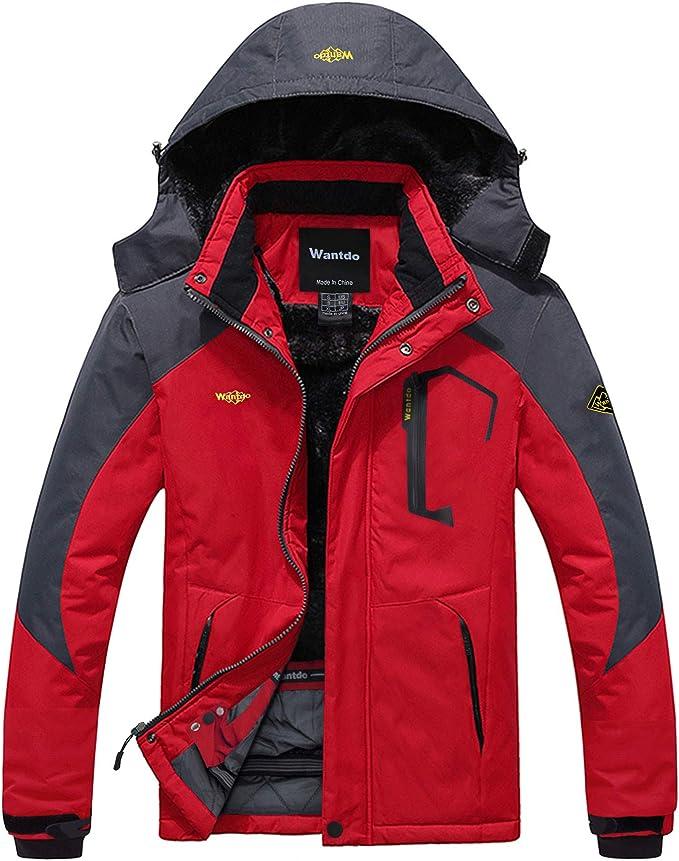 TALLA S. Wantdo Chaqueta de Esquí de Montaña para Hombre Abrigo de Invierno Impermeable con Capucha Cazadora de Snowboard Cálida Chaqueta al Aire Libre Antiviento Hombres