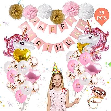 Amazon.com: Unicornio cumpleaños globo fiesta suministros ...