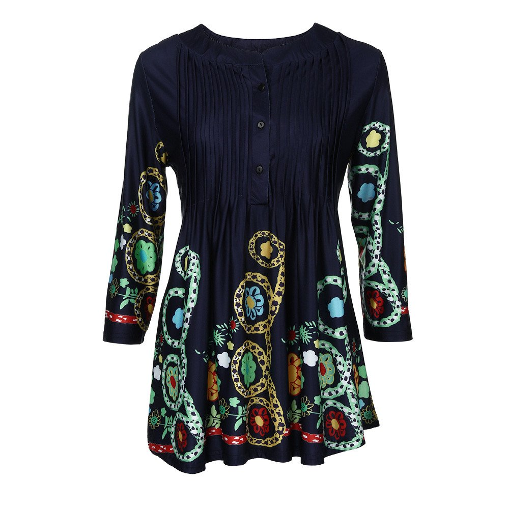 AOmahh Women O-Neck Shirt,Three Quarter Sleeved Printed Tops Loose T-Shirt Blouse Dark Blue