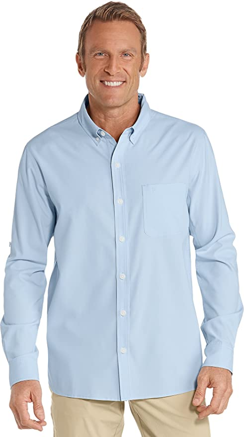 Coolibar UPF 50+ Men's Sun Shirt - Sun Protective (Small- Light Blue)