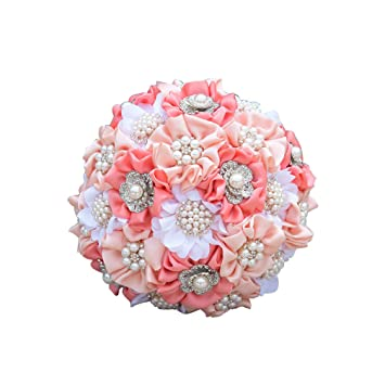 Amazon Com Pink Wedding Bouquet Artificial Crystal Bridal
