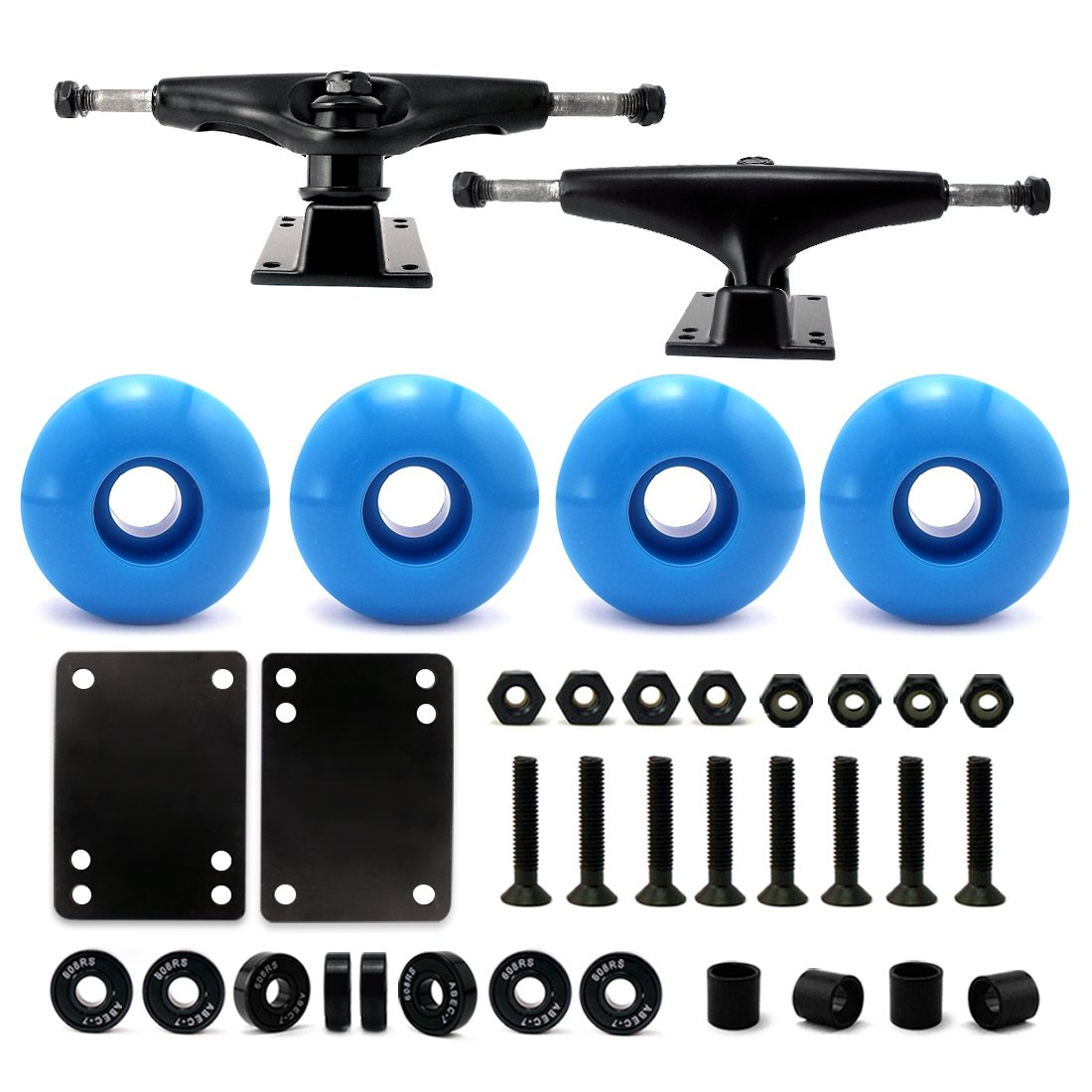 VJ 5.0 Skateboard Trucks (Black), Skateboard Wheels 52mm, Skateboard Bearings, Skateboard Pads, Skateboard Hardware 1'' (52mm Sky Blue) by VJ