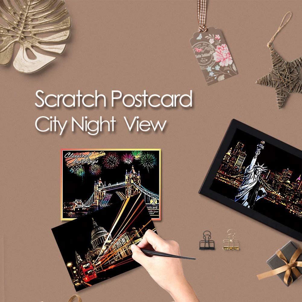Rainbow Painting Night View Scratchboard,DIY Art Craft Mini Envelope Postcard Set,Scratch Painting Creative Gift H HOMEWINS Scratch Art Paper,Scratch /& Sketch Art for Kids /& Adults