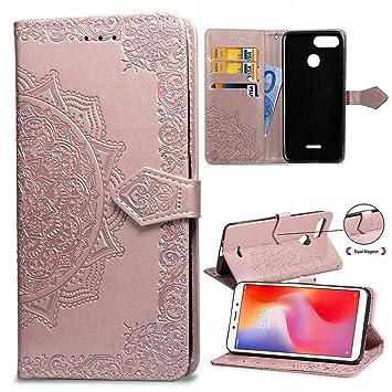 MUSESHOP Funda Xiaomi Redmi 6/6A, Carcasa Libro de Cuero con Tapa y Cartera para Xiaomi Redmi 6/6A, Carcasa PU Leather con TPU Silicona Case Interna ...