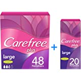 CAREFREE Panty Liners Large Fresh, Pack of 48 + Pack of 20