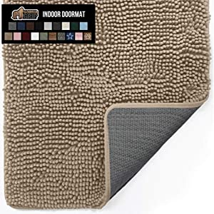 Gorilla Grip Original Indoor Durable Chenille Doormat, 48x30, Absorbent, Machine Washable Inside Mats, Low-Profile Rug Doormats for Entry, Mud Room Mat, Back Door, High Traffic Areas, Beige